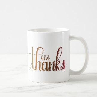 Geben Sie Dank, Handlettered Tasse, Herbst-Farben Kaffeetasse