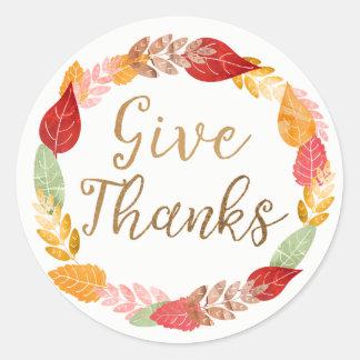 Geben Sie Dank-Herbst-BlätterWreath Runder Aufkleber