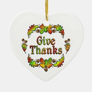 Geben Sie Dank Keramik Herz-Ornament