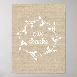 Geben Sie Dank - Kunstdruck Poster