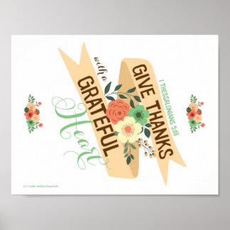 Geben Sie Dank mit einem dankbaren Herz-Druck Poster