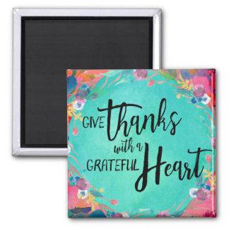 Geben Sie Dank mit einem dankbaren Herz-Magneten Quadratischer Magnet