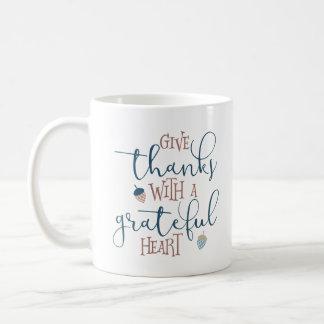 Geben Sie Dank mit einem dankbaren Herzen Kaffeetasse