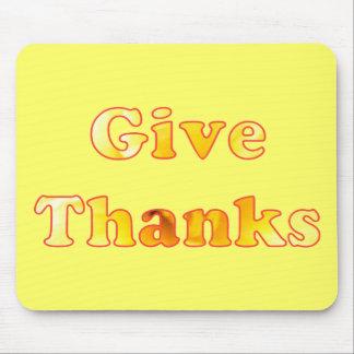 Geben Sie Dank, Wortkunst mit gelber Lilie, Mauspads