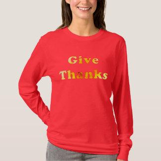 Geben Sie Dank, Wortkunst mit gelber Lilie, Shirts