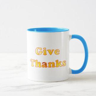 Geben Sie Dank, Wortkunst mit gelber Lilie, Tassen
