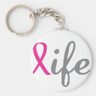 Geben Sie das Leben - rosa Band Standard Runder Schlüsselanhänger
