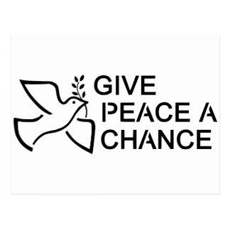 Geben Sie Frieden eine Möglichkeit Postkarte