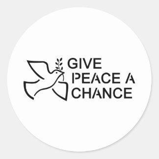 Geben Sie Frieden eine Möglichkeit Runder Aufkleber