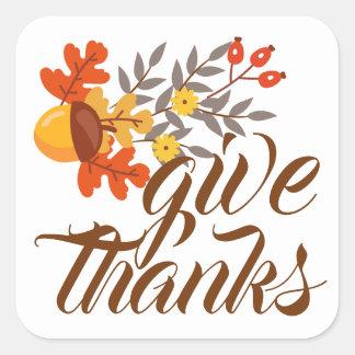 Geben Sie Herbst-Herbstlaub u. Eicheln des Dank-| Quadratischer Aufkleber