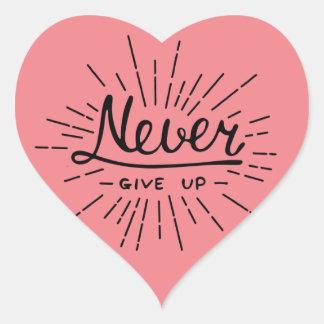 Geben Sie nie auf Herz-Aufkleber