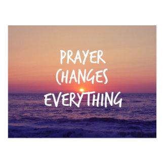 Gebet ändert alles christliches Zitat Postkarte