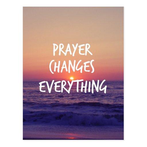 Gebet ändert alles christliches Zitat Postkarten