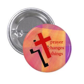 Gebet ändert Sachekreuz auf Buntglas Anstecknadel