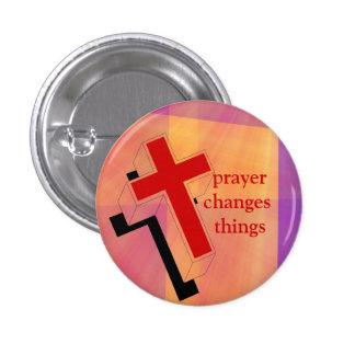 Gebet ändert Sachekreuz auf Buntglas Buttons