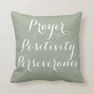 Gebet, Bestimmtheit, Ausdauer-Typografie-Kissen Kissen