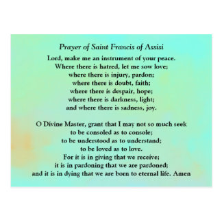 Gebet des Heiligen Franziskus von Assisi Postkarte
