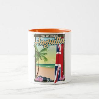 Gebiets-Reiseplakat Anguilla britisches Zweifarbige Tasse
