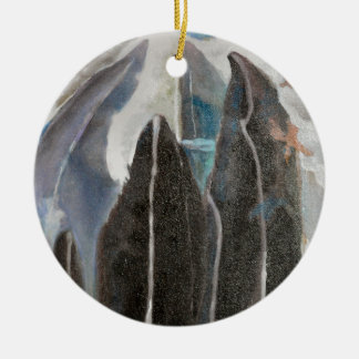 Gebirgsbäume Rundes Keramik Ornament