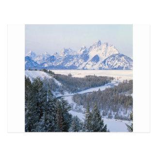 Gebirgserste Schneefälle Snake River Wyom Postkarte