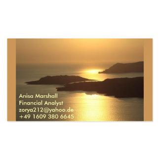 Gebirgsinsel Sonnenuntergang-Santorini Visitenkartenvorlage
