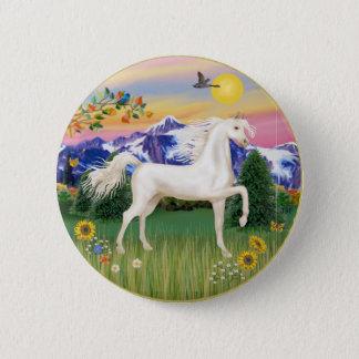 Gebirgsland - weißes arabisches Pferd Runder Button 5,1 Cm