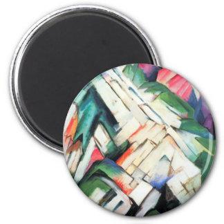 Gebirgslandschaft durch Franz Marc, Vintager Runder Magnet 5,1 Cm