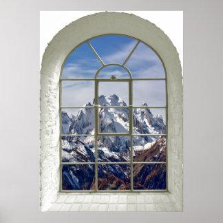 Gebirgsspitzen-Ansicht gebogenes Fake-Fenster Poster