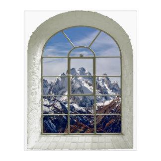 Gebirgsspitzen kurvten Fake-Fenster Acryl Wandkunst