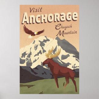 GebirgsVintages Reise-Plakat Anchorages Chugach Poster