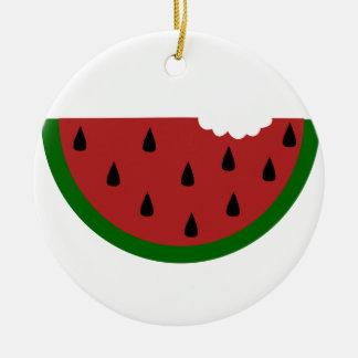 gebissene Wassermelone der Nahrungsmittelscheibe Keramik Ornament