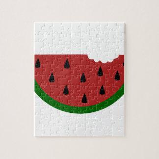 gebissene Wassermelone der Nahrungsmittelscheibe Puzzle