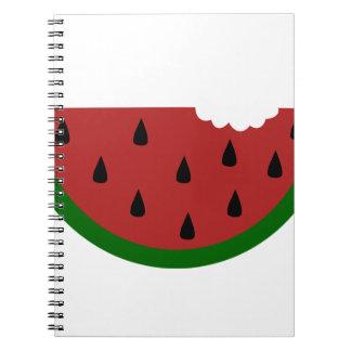 gebissene Wassermelone der Nahrungsmittelscheibe Spiral Notizblock
