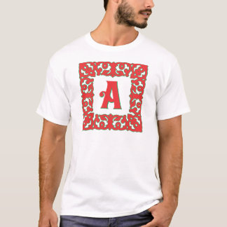 Geblühtes rotes gerahmtes Monogramm A T-Shirt