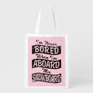 Gebohrt nie AN BORD meines SNOWBOARD (Schwarzes) Wiederverwendbare Einkaufstasche