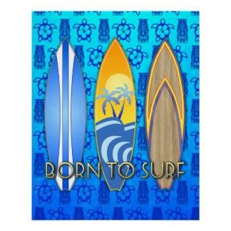 Geboren, blaues Tiki zu surfen Poster
