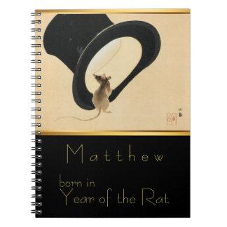 Geboren im Ratten-Jahr-personalisierten Notizbuch Notizblock