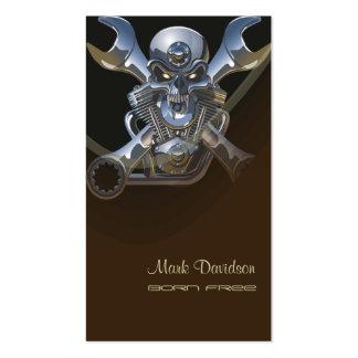 Geboren wild zu sein Motorradschlüssel + Schädel Visitenkartenvorlagen