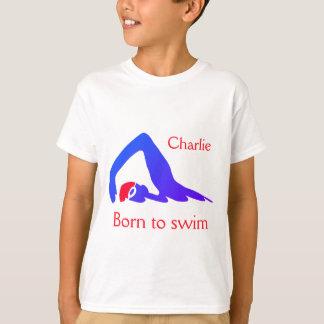 Geboren zu schwimmen, Jungen, Blaus, mit Ihrem T-Shirt