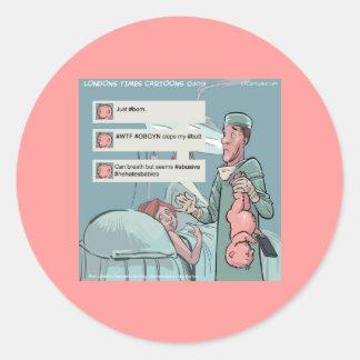 Geboren, zu tweeten lustiger Cartoon Runder Aufkleber