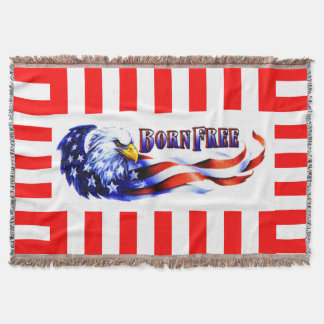 Geborener freier kahler Adler und USA-Flagge Decke