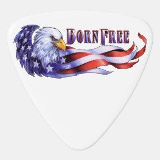 Geborener freier kahler Adler und USA-Flagge Gitarren-Pick