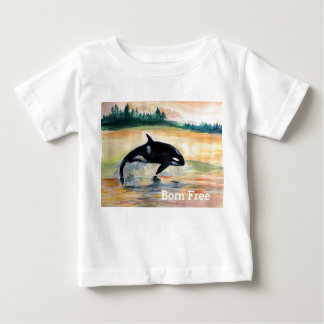 Geborener freier Wal-Baby-Geldstrafe-Jersey-T - Baby T-shirt