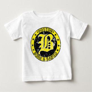 Geborenes angehobenes Gelb Bostons Baby T-shirt