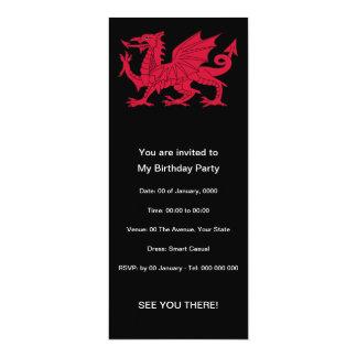 Geborenes Waliser-Gedicht mit Drachen 10,2 X 23,5 Cm Einladungskarte