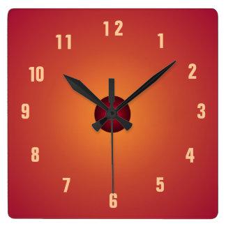 Gebrannte orange Clock> Küchen-Uhren Quadratische Wanduhr