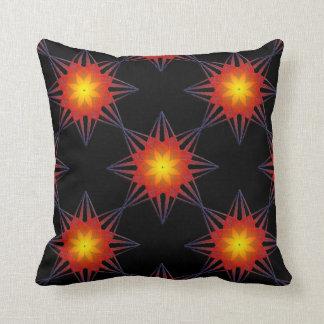 Gebrannte orange schwarze gelbe Stern-Blume Kissen