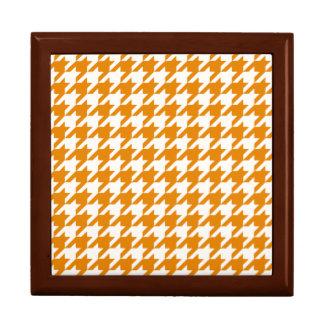 Gebranntes orange Hahnentrittmuster 1 Schmuckschachtel