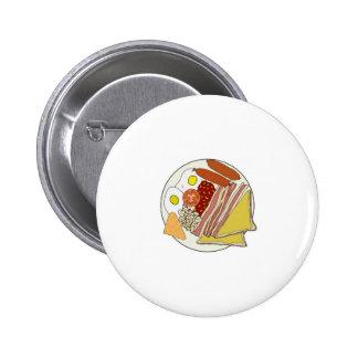 Gebratene englisches Frühstücks-Platte Runder Button 5,7 Cm