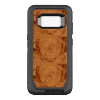 Gebräunte lederne rotbraune Welts-Karte OtterBox Defender Samsung Galaxy S8 Hülle
